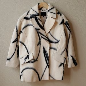 BR Wool cocoon coat white black pattern XS